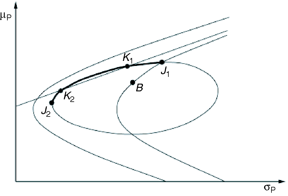 The feasible subsection of the efficient constrained TEV frontier