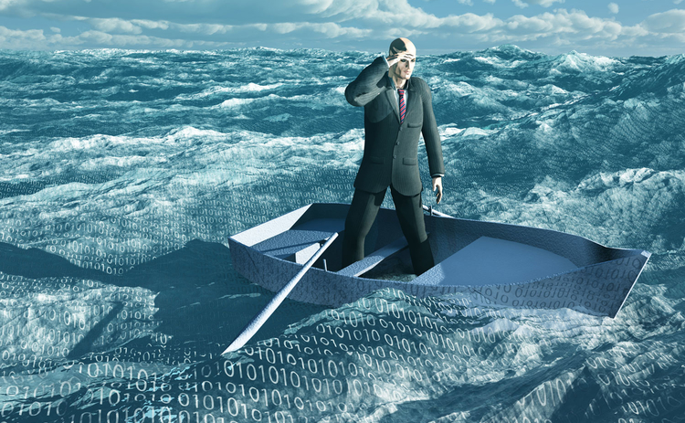 Image of a man afloat in a sea of data