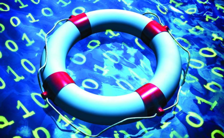 Life preserver floating on binary data