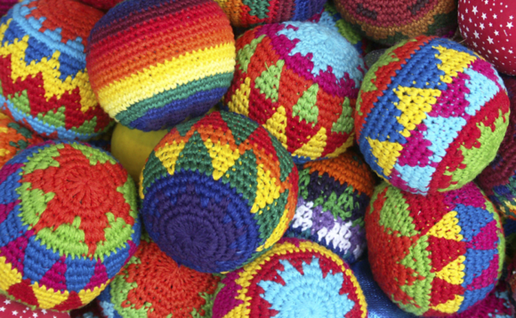 South American knitted woollen balls