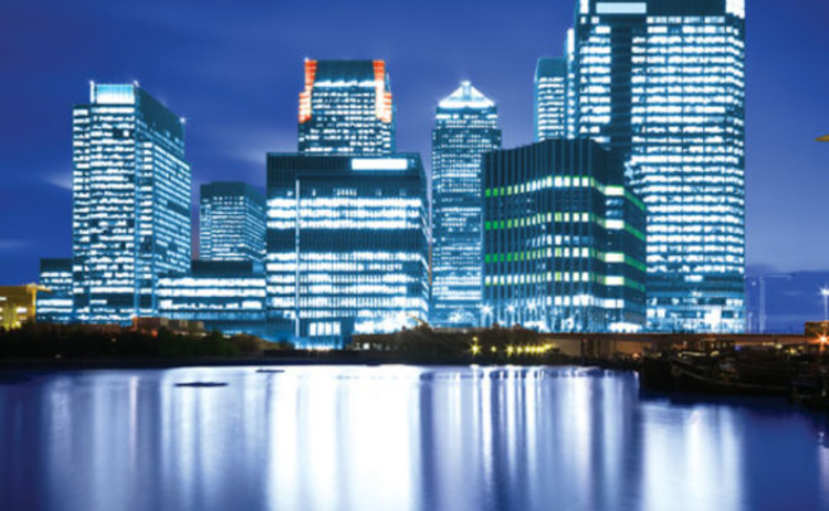 A view of Canary Wharf at night
