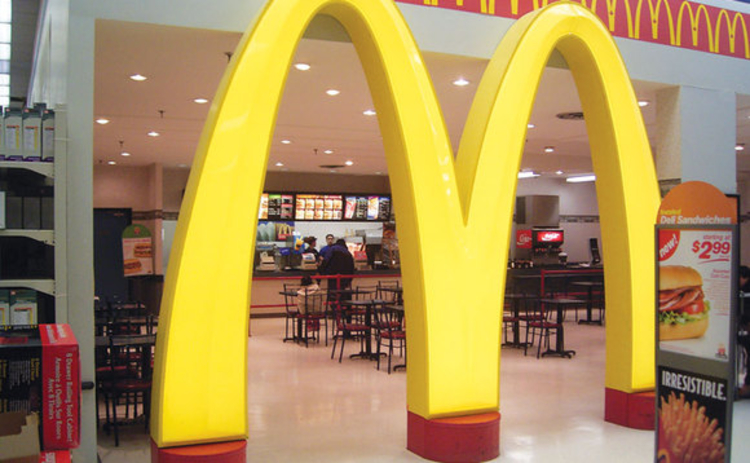 McDonalds arches in a restaurant