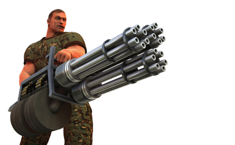 Digital render of cigar smoking fantasy soldier with huge Gatling gun style weapon