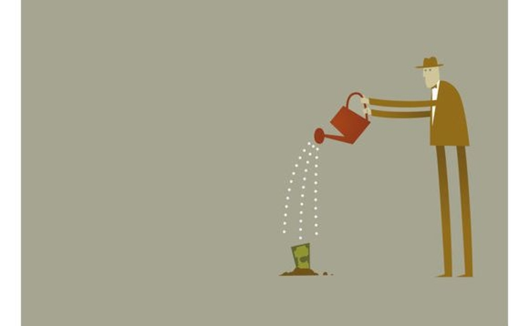 illustration-man-watering-money
