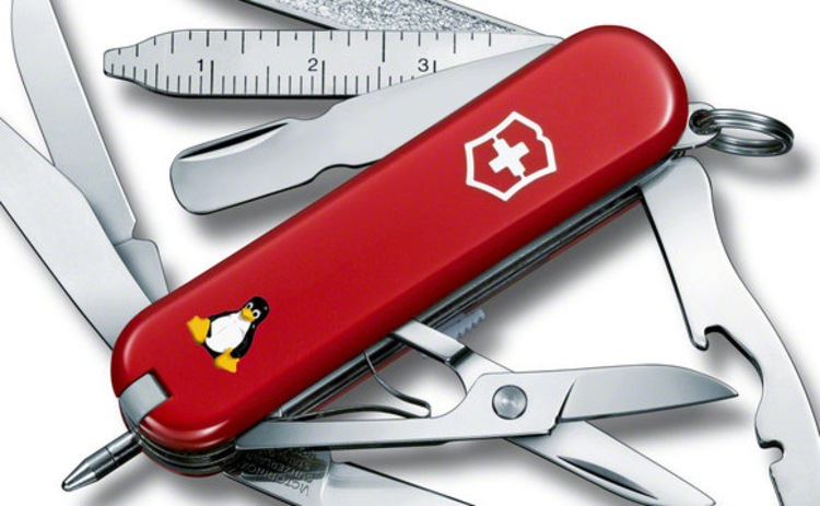 A Swiss Army knife with the Linux penguin logo