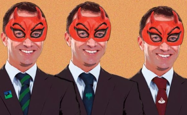 The cover image showing three bank managers wearing devil masks
