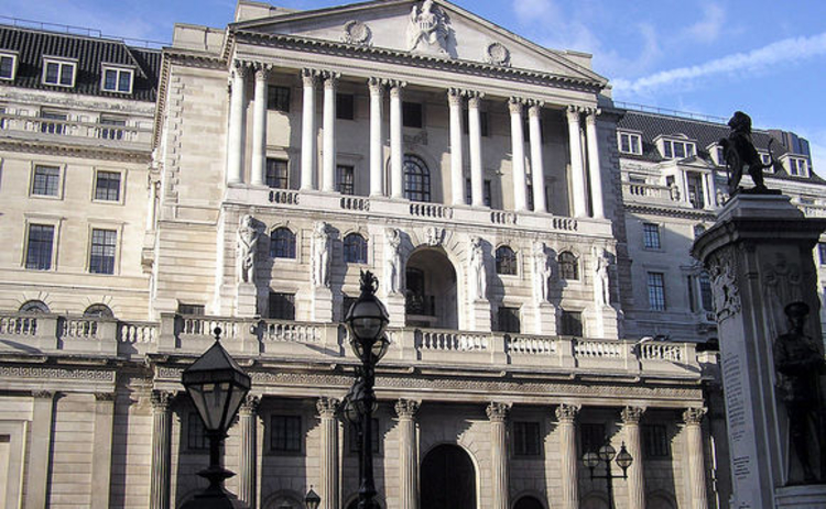 Front of the Bank of England in London