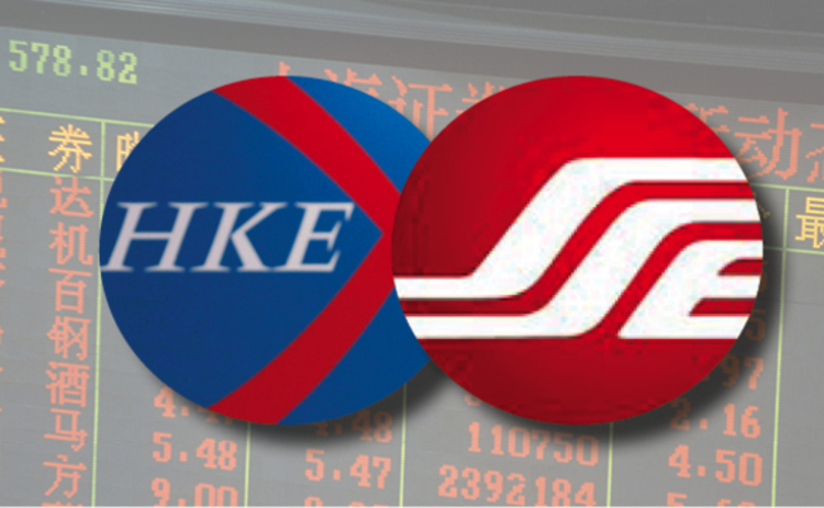 Logos for the Hong Kong and Shanghai stock exchanges