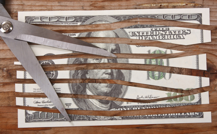 scissors cutting a dollar bill into strips