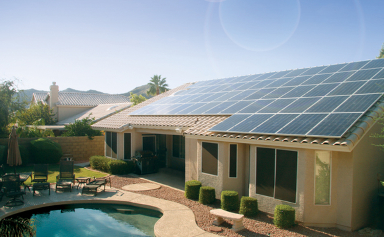 A home in Phoenix Arizona with SolarCity solar panel array