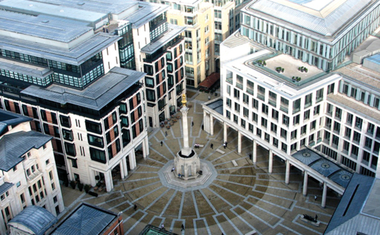 View of the London Stock Exchange from above